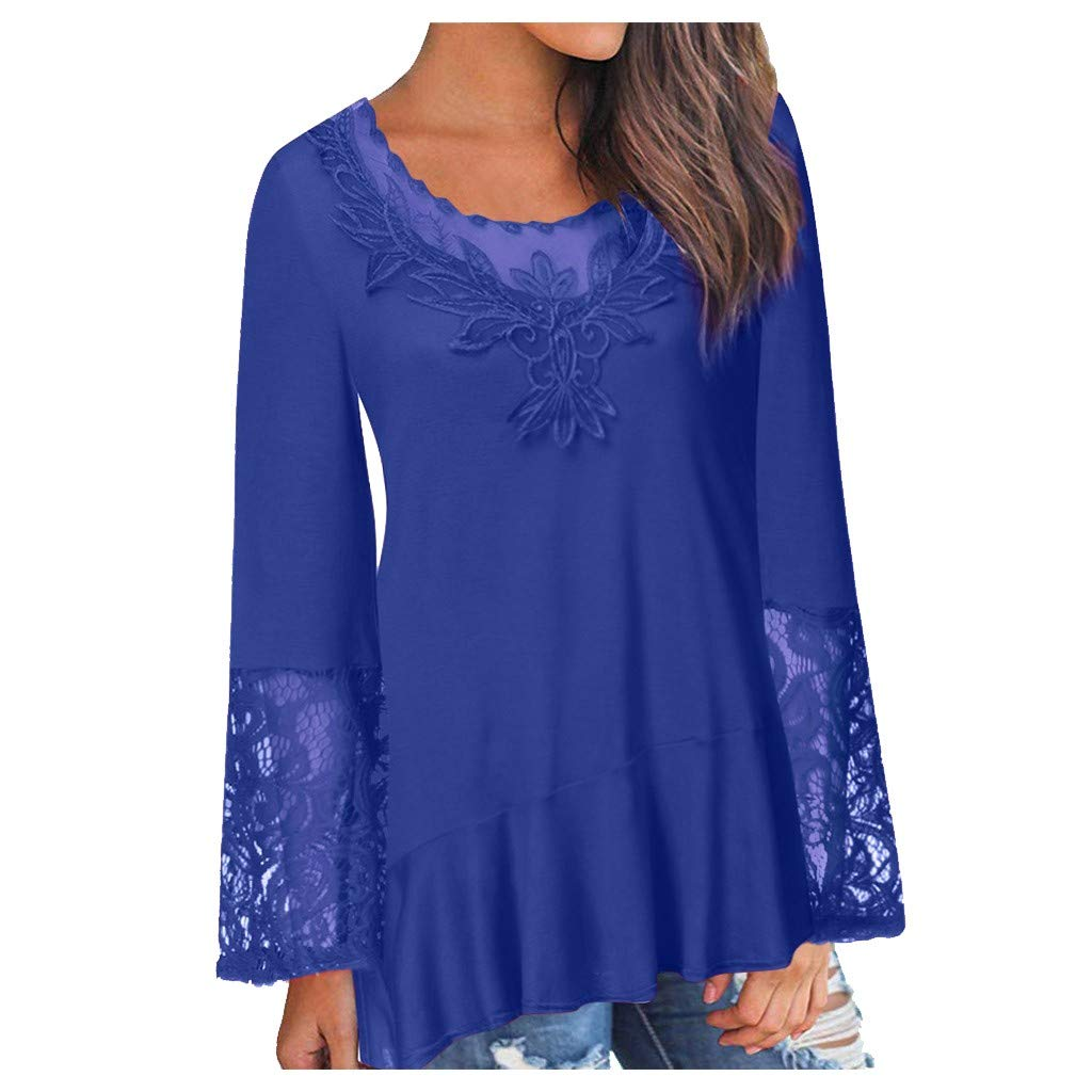 Toimothcn Womens Loose Lace Tunic Blouse Mesh Hollow Out Patchwork Log Sleeve Shirts Tops