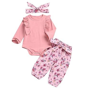 633d82d4aaf9e Nouveau-né Fille bébé Tenue à Manches Longues Barboteuse et imprimé Floral  PP Pantalon et