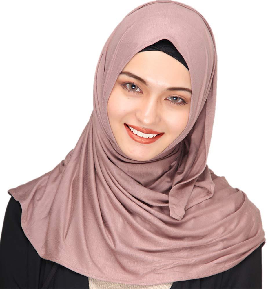 Ababalaya Women's Muslim Islamic Soft Breathable Cotton Long Hijab Head Scarf 70×30 inch,Light Brown