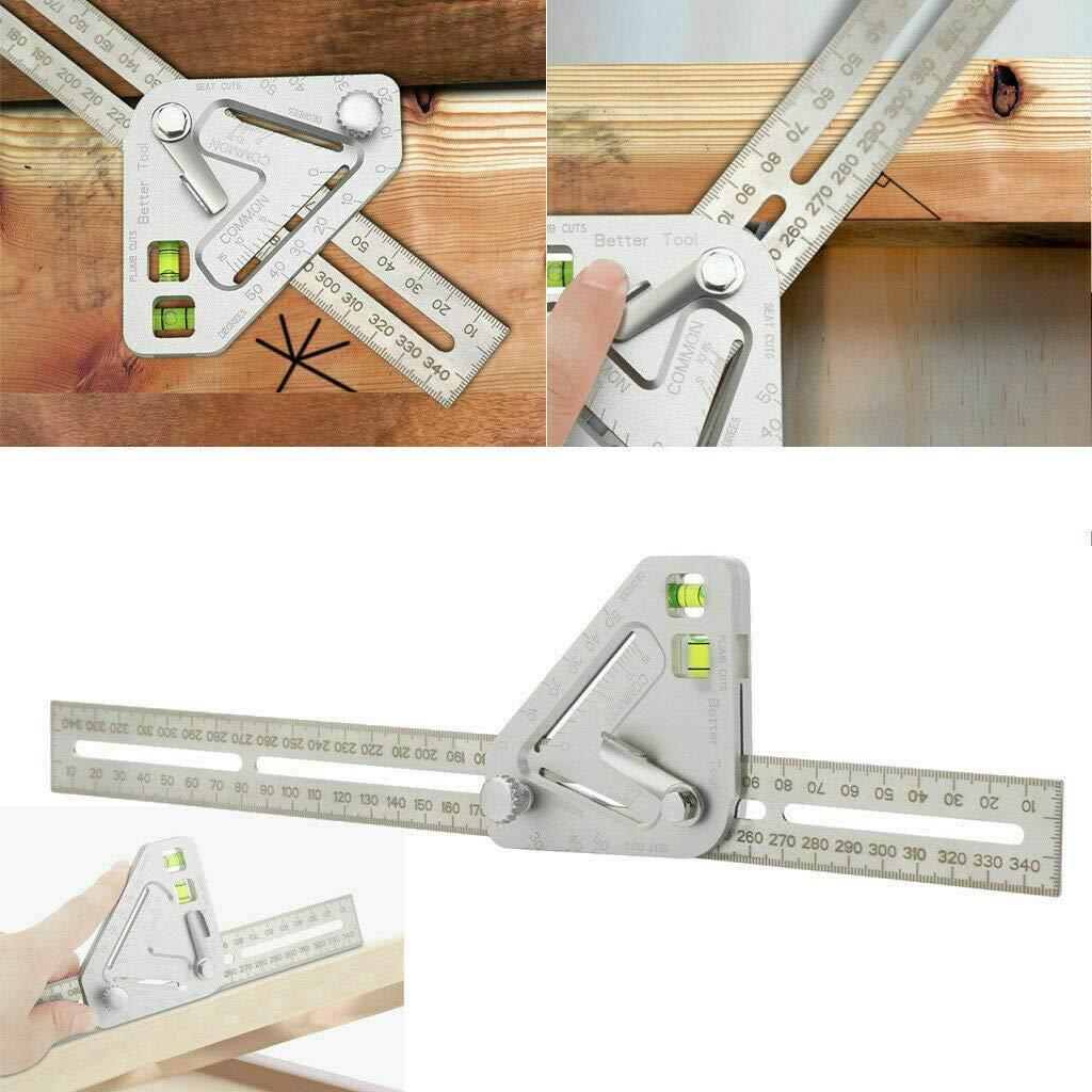 Outil de menuiserie r/évolutionnaire Tool Outil de mesure multifonction Angle de la r/ègle /