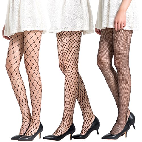 Toes Home Women 3 Pairs Fishnet Stockings Tights Socks Sexy Hollow Pantyhose Seamless Black