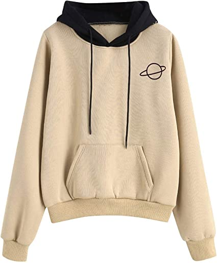 Dermanony Womens Long Sleeve Sweatshirt Christmas Print Front Pocket Cute Drawstring Pullover Loose Hoodie Sweatshirt
