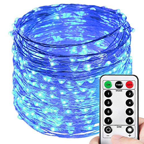 HAHOME Dimmable Christmas String Lights, Waterproof Fairy Lights, Deco Rope Lights for Seasonal Decorative Holiday, Wedding, Parties(99Ft, 300LEDs, Blue)