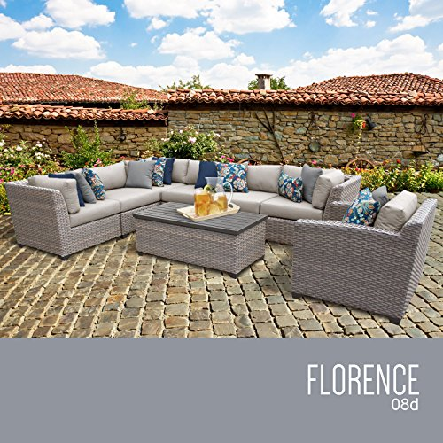 TK Classics Florence-08d 8 Piece Outdoor Wicker Patio Fur...