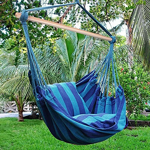 Blissun Hanging Hammock Chair, Hanging Swing Chair with Two Cushions, 34 Inch Wide Seat Blue & Green Stripes (Seaside Stripe)