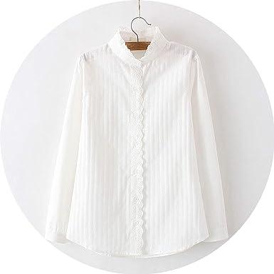 99b74cb377f Women Lace White Shirts Summer Spring Long-Sleeve Ruffled 100 ...