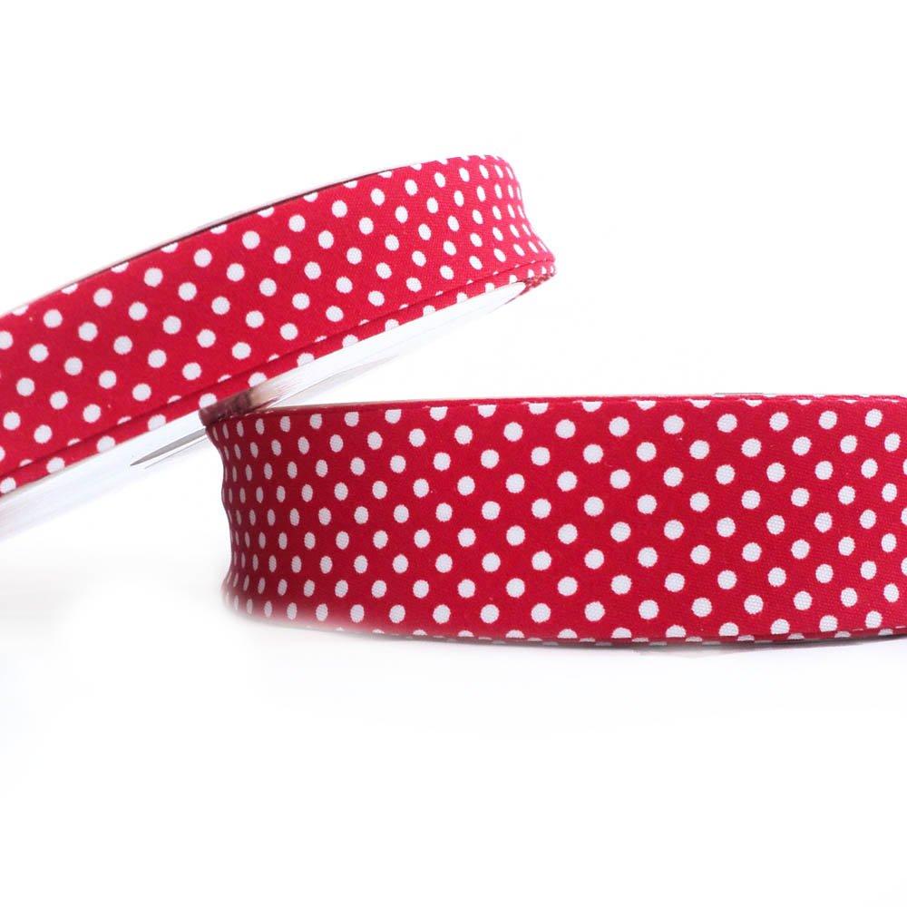 30mm Red Dot Bias Binding Higgs /& Higgs Cotton Fabric Folded Trim