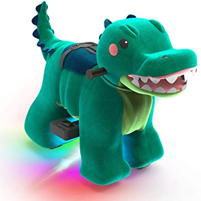 HOVER HEART Rechargeable 6V/7A Plush Animal Ride On Toy with Bottom LED Light for Kids (3~7 Years Old) with Safety Belt (Crocodile): Sports & Outdoors