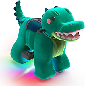 HOVER HEART Rechargeable 6V/7A Plush Animal Ride On Toy with Bottom LED Light for Kids (3~7 Years Old) with Safety Belt