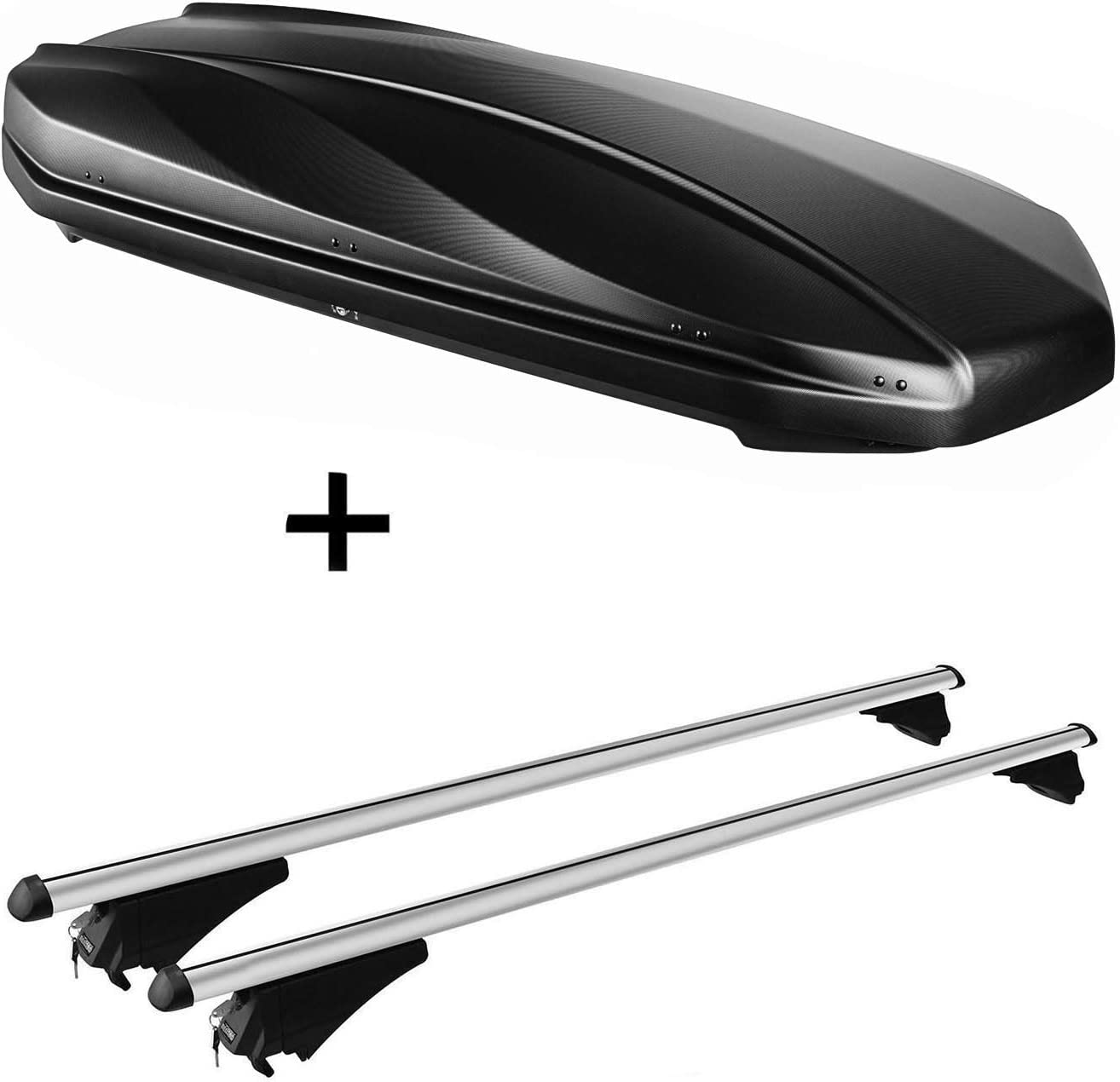 VDP Strike Roof Box 440 Litres Black Matte Roof Rack Rack Tiger XL Compatible with BMW X5 2010-2013 E70