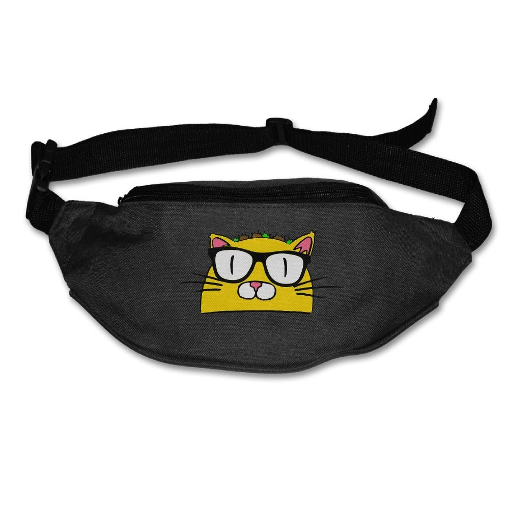 Homlife Waist Purse Taco Cat with Glasses Unisex Outdoor Sports Pouch Fitness Runners Waist Bags