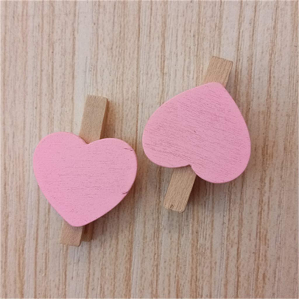 Aobiny 10PCS Mini Love Heart Colored Wooden Heart Clothespins Photo Craft Clips for Wedding Party Decor - Wooden Clothes Photo Paper Peg Pin Clothespin Craft Clips (Pink)