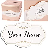 """Personalized Custom Card - 7.5"""" x 4.5"""" Gold Foil Edges Printed Sign For Rose Gold Card Box by Merry Expressions. Sign Only Without Box With Adhesive Strips on the Back"""