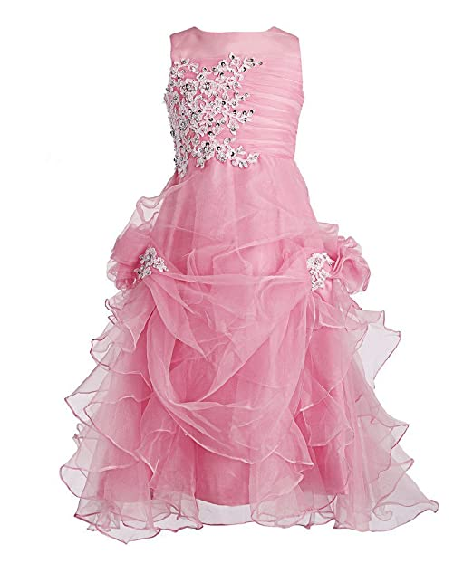 bffa88deadc Fashion Plaza Girl s Ruffled Applique Flower Girl Communion Pageant Dress  K0073 (6