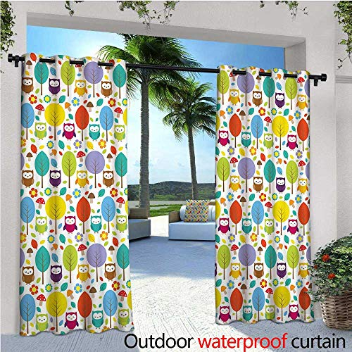 Sapphire Mushroom - Nursery Outdoor Privacy Curtain for Pergola Colorful Forest with Owls Trees Leafs Mushrooms and Flowers Cute Drawing Style Thermal Insulated Water Repellent Drape for Balcony W96
