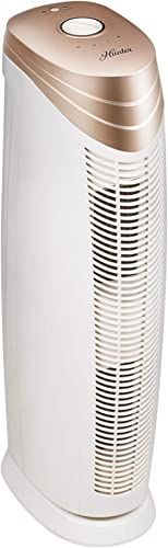 Hunter HT1701 Air Purifier with ViRo-Silver Pre-Filter and HEPA Filter, for Allergies, Germs, Mold, Dust, Pets, Smoke, Pollen, Odors, for Large Rooms, 27-Inch Rose Gold White Air Cleaner