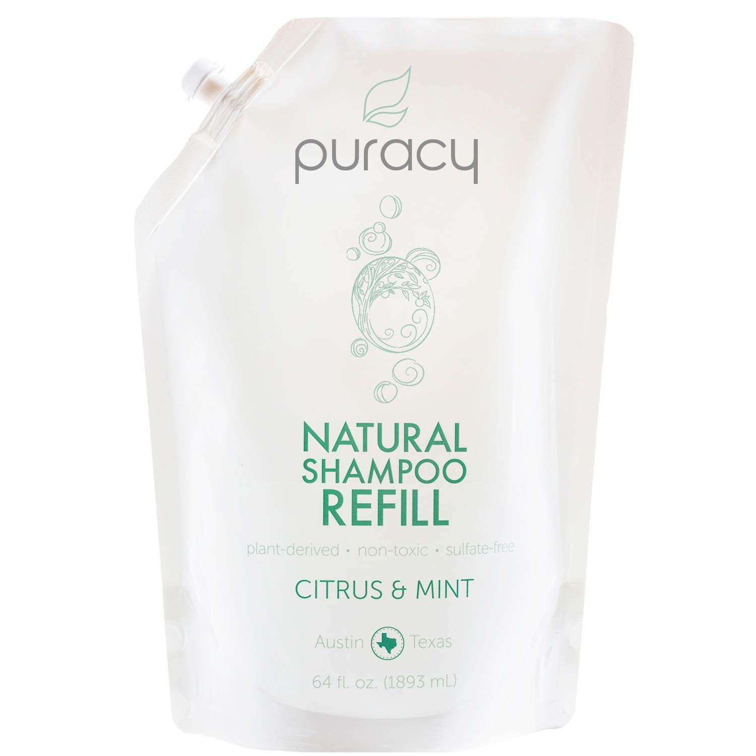 Puracy Natural Daily Shampoo Refill, No Harsh Chemicals, Safe for All Hair Types, 64 Ounce by Puracy