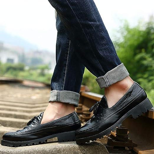 FHTD Calzado de cuero para hombre/Mocasines y Zapatillas sin cordones/Zapatillas de plataforma/personalidad,Black,37: Amazon.es: Ropa y accesorios