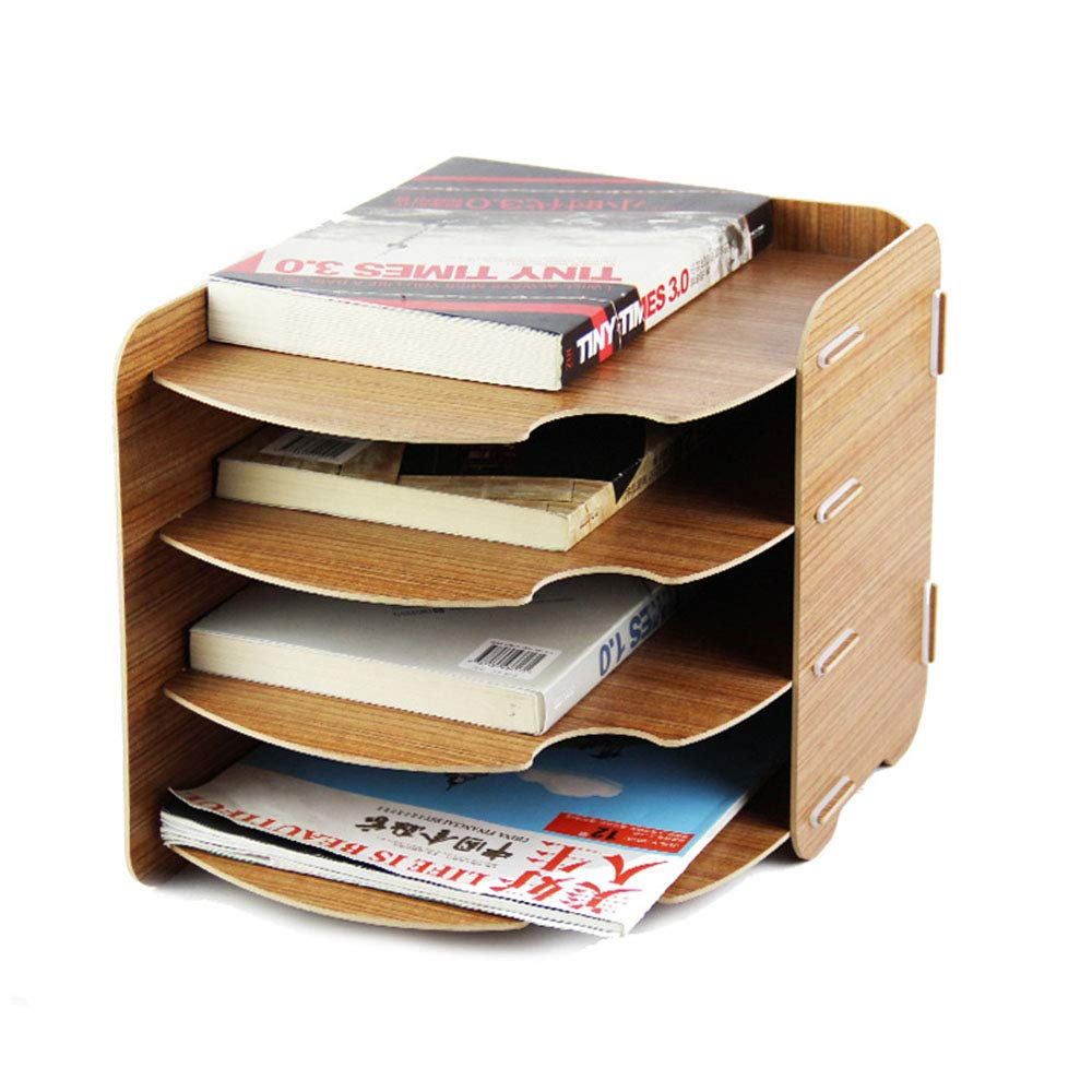 Shelf houlian shop1 Desktop File Rack Creative Wooden Office File Column Storage Information Cabinet Multi-Layer Publicity Information Rack (Color : Wood Color) by Shelf houlian shop1