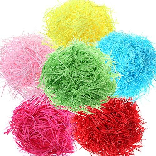 Zhanmai 300 Gram Easter Grass Shredded Paper Basket Grass Filler for Crafts Gifts Packaging Filling, 6 Colors