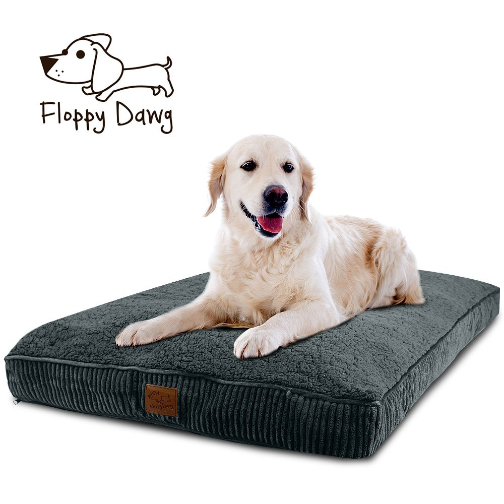 Floppy Dawg Super Extra Large Dog Bed with Removable Cover and Waterproof Liner. Made for Big Dogs up to 100 pounds and More. Jumbo Size 48 x 30 and Stuffed 6 Inches High with Memory Foam Pieces.