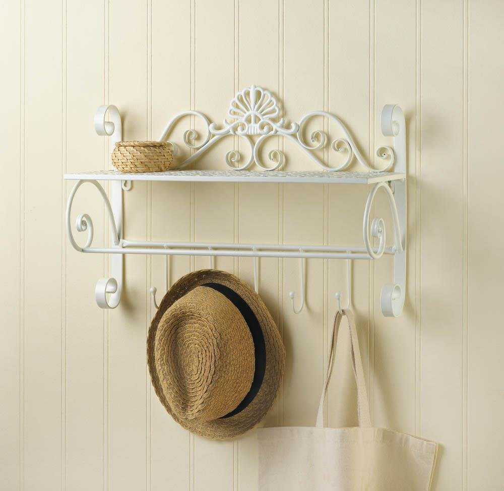 Home Decor Country Cottage Scrolled White Wrought Iron Wall Shelf With Hooks Display Shelf