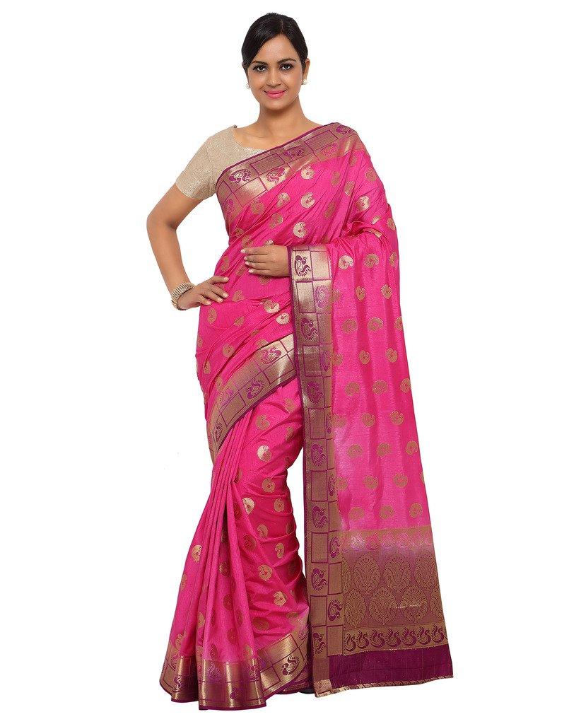 Varkala Silk Sarees Women's Raw Silk Paithani Saree With Blouse Piece_(ND1011RNJB_Pink & Purple)