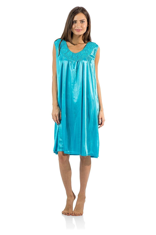 Casual Nights Women's Sleeveless Flower Satin Nightgown Satin Flower Nightshirt
