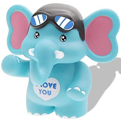 H&W Cartoon Travel Elephant Coin Bank, Anti-Broken Money Box, Piggy Bank, Best Gift Kids, Boys, Blue (WK8-D2): Toys & Games
