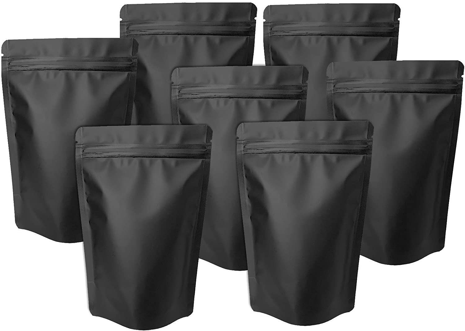 100 Pack Matte Black Mylar Stand Up Bags - 6.3x9.4 Inches Smell Proof Resealable Ziplock Bags, Sealable Foil Packaging Bags