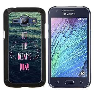 TECHCASE---Cubierta de la caja de protección para la piel dura ** Samsung Galaxy J1 J100 ** --océano inspirador ofrenda floral azul rosa