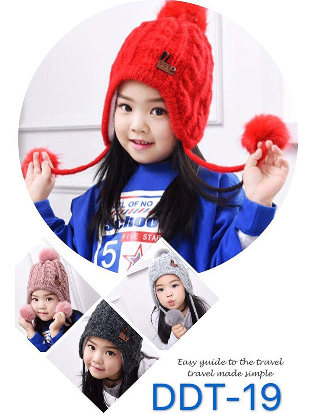 Red Childrens Twist Cable Knited Hat Pom Pom Ball Winter Plus Velvet Earmuffs Big Wool Hat Keep Warm Bonnet Ear Flap Caps Skullies Beanies Baby Hats Caps