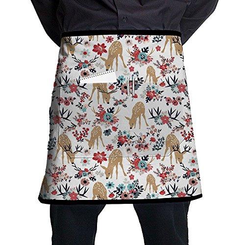 Kjiurhfyheuij Half Short Aprons Deer Flowers Waist Apron With Pockets Kitchen Restaurant For Women Men Server -