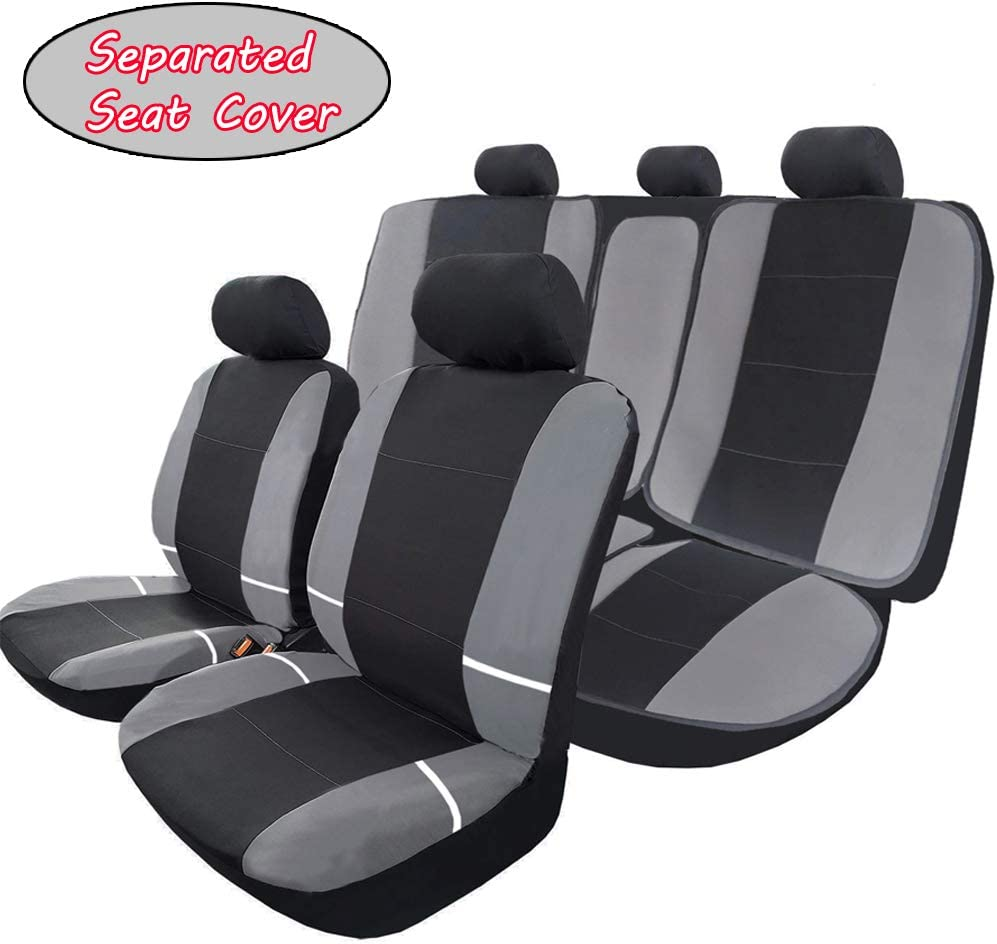 SUV or Van Fit Most Car Full Set Flat Cloth Fbric Seat Covers Breathable Front Cover with 2 Detachable Headrests Separated Back Seat Cover Big Ant Car Seat Covers Black-Gray Truck