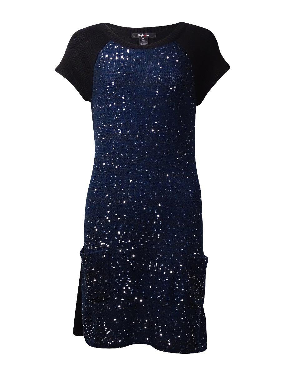 Style & Co Cap Sleeve Metallic Sequin Tunic Sweater Indigo Blue/Black PXL