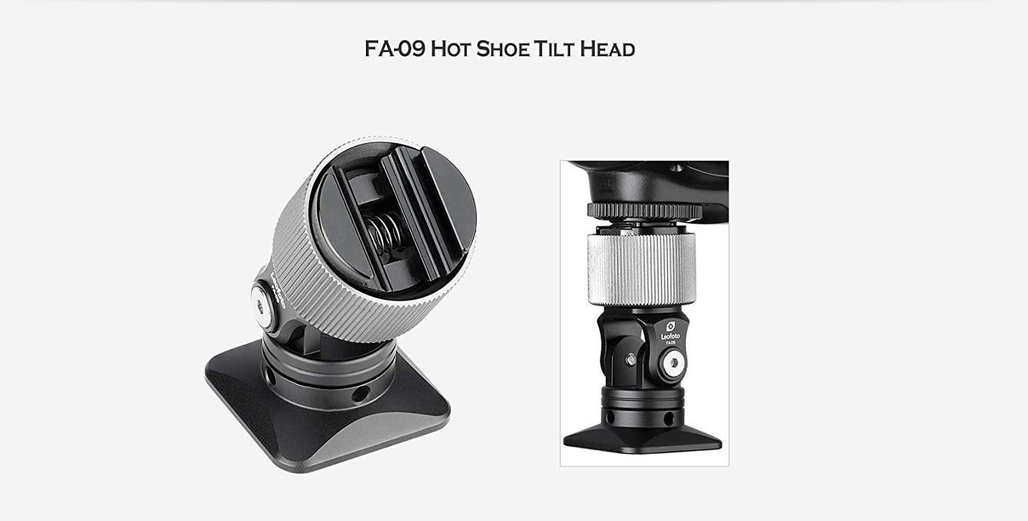 Leofoto FA-09 Hot Shoe 1//4 Tilting Cold Shoe Flash Adapter Tripod//Lightstand Mount with Friction Control Arca//RRS Compatible