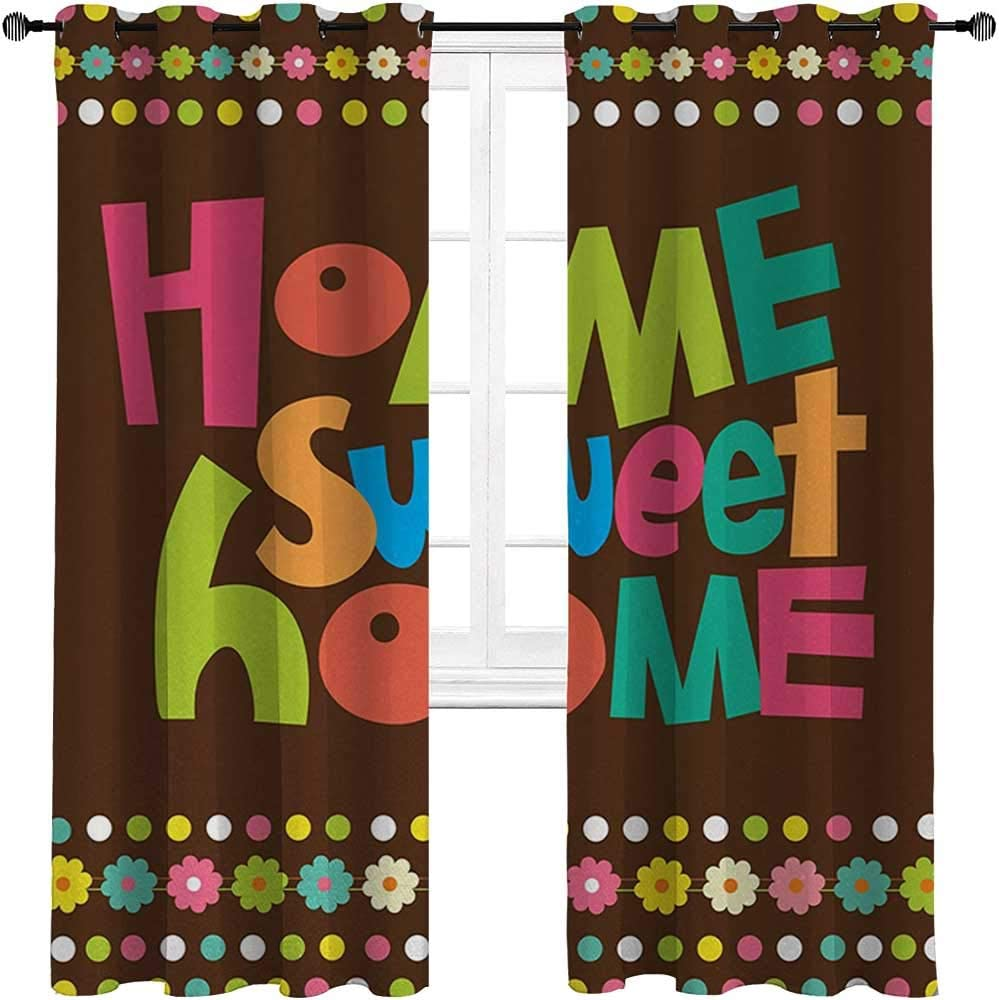 Blackout Curtains and Drapes Home Sweet Home Light Blocking Curtains Retro Cartoon Style Funky Colorful Letters and Floral Borders with Dots 2 Grommet Top Curtain Panels,42