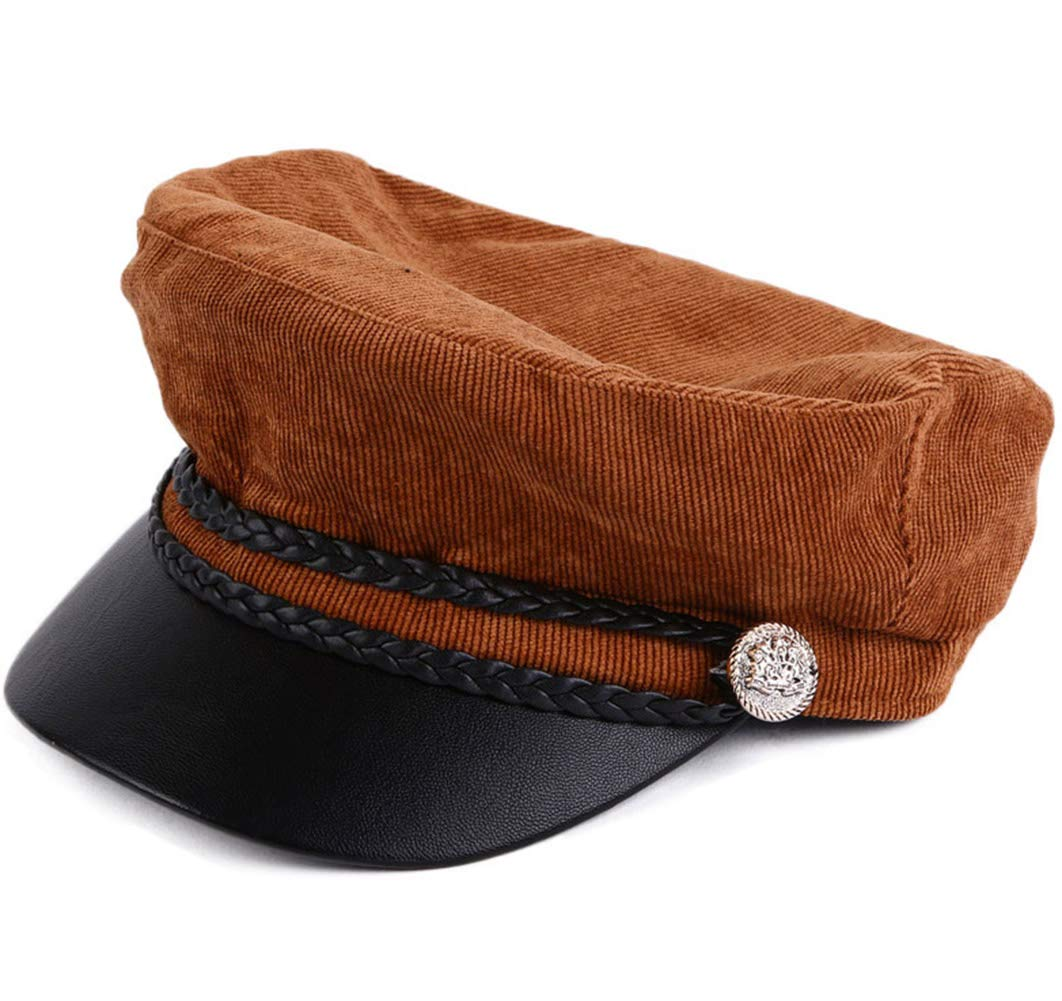 Classic Newsboy Cabbie Hat Fall Winter Leather Visor Beret Caps Fisher Fiddler Cap Brown