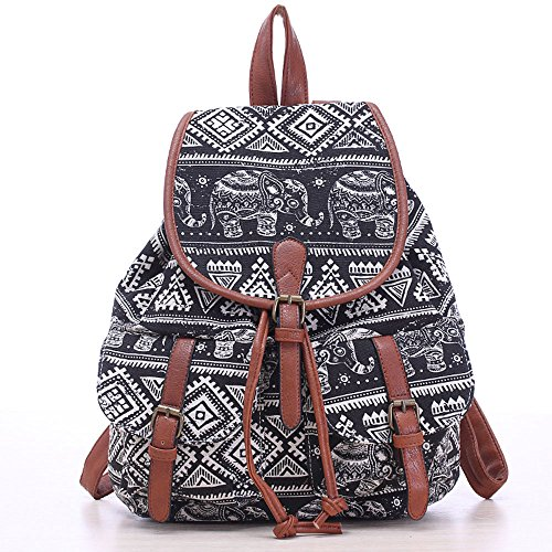 Efanr Canvas Backpack Fashion Pattern Printed Leisure Shoulder Bag Laptop Bag for Ladies Women & Girls College Casual School Book Bag Multi-function Sports Daypack (Black (New Girls Bobby Jack)