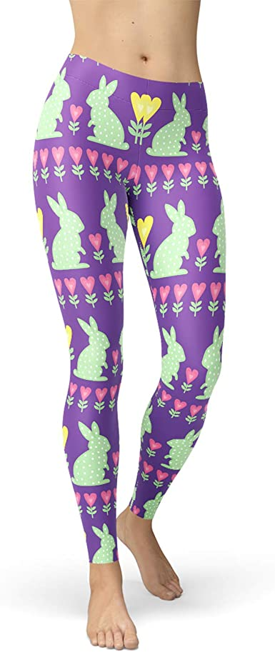 White Rabbit Eggs Grey Easter Yoga Tights Short Running Pants Workout