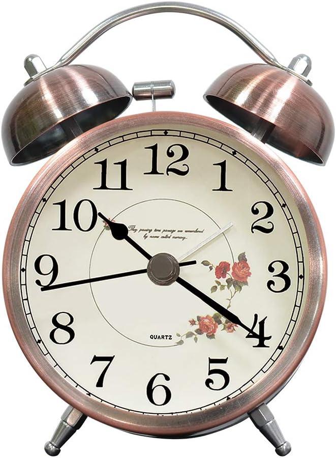 lunaoo Despertador Analogico Silencioso Sin Tictac, Reloj Despertador Vintage Retro con Luz, 3