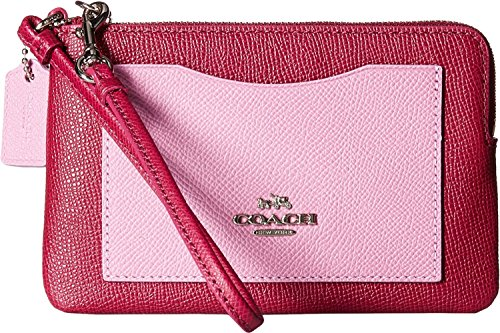 Coach CORNER zip wristlet in color block leather Cyclamen Marshmallow (Coach Sling Bags)