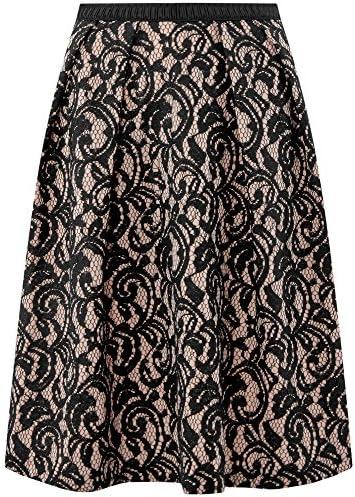 oodji Collection Mujer Falda de Encaje con Cintur/ón El/ástico Decorativo