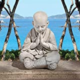 Design Toscano Praying Baby Buddha Asian Garden Statue, Antique Stone For Sale