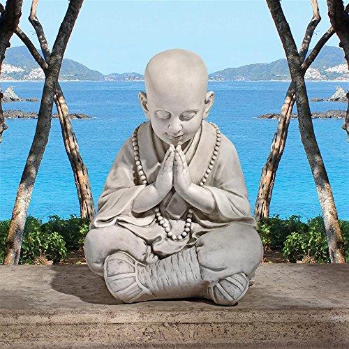 Design Toscano Praying Baby Buddha Asian Garden Statue, Antique Stone