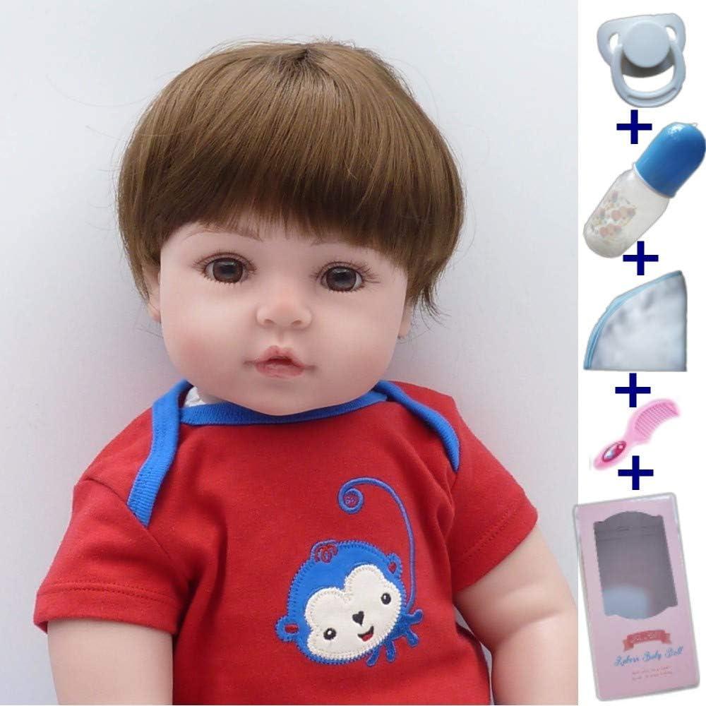 VUGO 19 Pulgadas 48cm Muñeca Reborn Bebé Niño Silicona Suave Vinilo Natural Hecho a Mano Muñecas Recién Nacidas Bebe Reborn Niño Mejores Regalos de Vacaciones Reborn Toddler