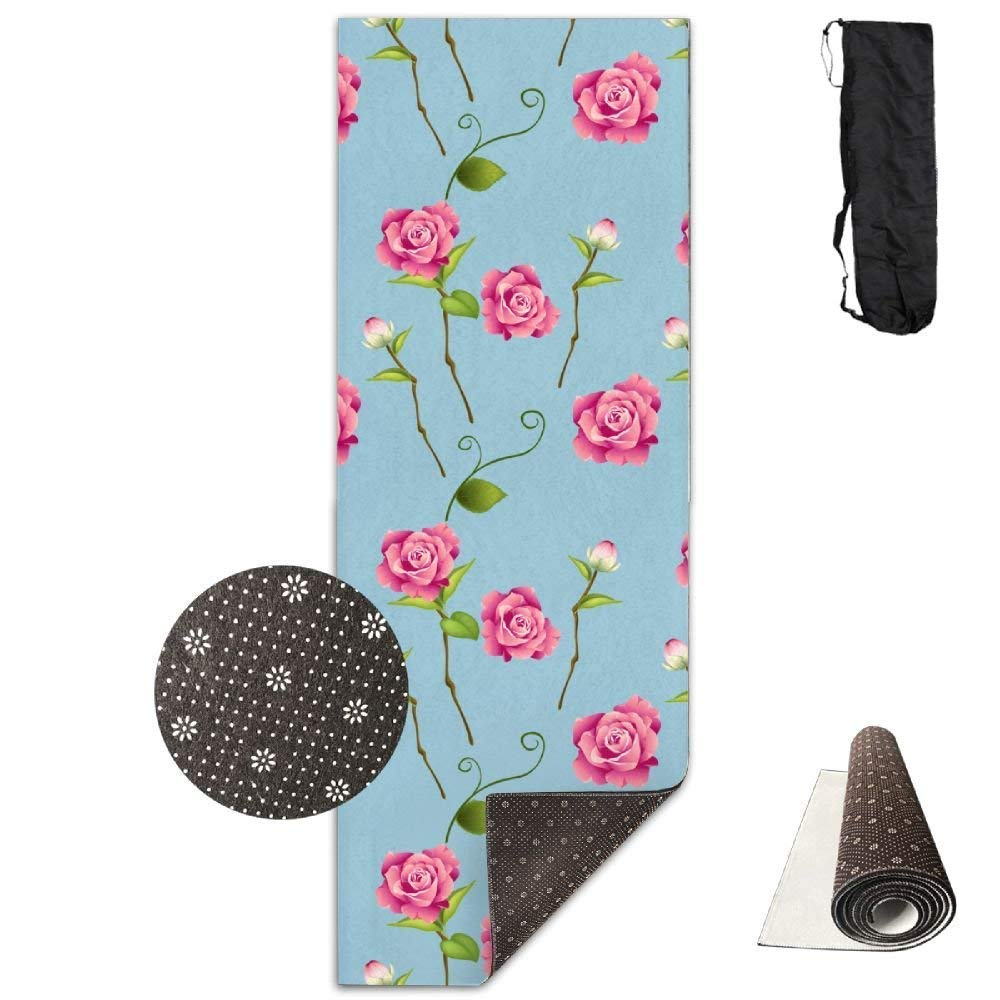 Yoga Mat Non Slip Beautiful pinks Printed 24 X 71 Inches Premium for Fitness Exercise Pilates with Carrying Strap