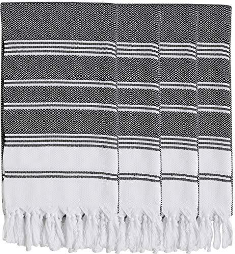- Set of 4 - New Season BRIGHTEST Diamond Weave Turkish Cotton Bath Beach Hammam Fouta Towel Sheet Peshtemal Blanket