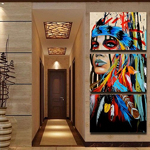 3 Piece Chief Western Artwork Black and White Canvas Beauty Painting Native Indian Maiden American Girl Feathered Women Modernism Home Wall Decor Picture Art HD Print,Framed(28''Wx60''H)