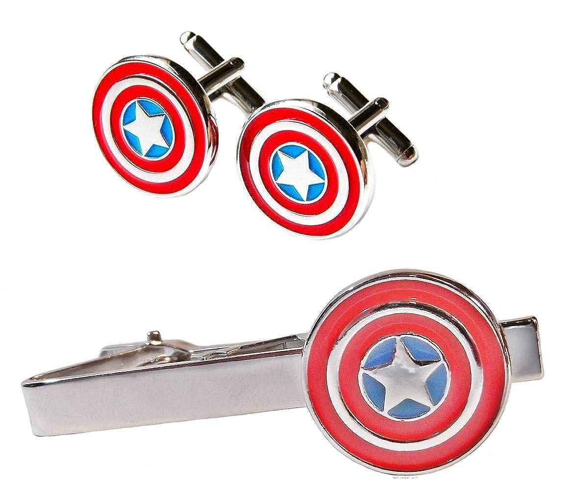/Pince /à Cravate et Boutons de Manchette pr/ésent/é dans Une Pochette de Rangement en Velours Essential Accessories Captain America Marvel/